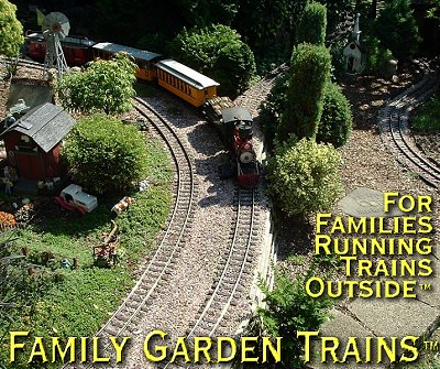 Family Garden Trains.  Railroad by Dan and Katy Hill, about 2005