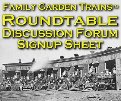 Family Garden Trains Discussion Forum Signup Page.  The photo is of a locomotive roundhouse near Palestine, TX, about 1880.  If you're the owner of this photo please contact me.  Click for bigger photo.
