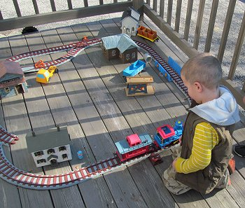 Playskool made the best garden scale train for little kids EVER.  Unfortunately, it's been out of production for decads. Click for bigger photo.