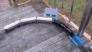 Lionel's battery-powered G-gauge Polar Expres, now discontinued, as it was set up for our Christmas Train Day in 2015.  Click for bigger photo.