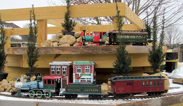 Two Christmas-themed trains on my existing railroad as of December 19, 2017.  Click for bigger photo.