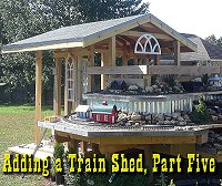 Planning the door, walls, and windows of our garden railway train shed. Click to go to article.