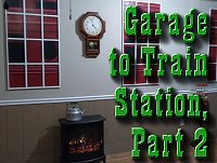Garage to Train Station, Part 2, fixing up one end of my garage to resemble a Victorian train station interior, including painting backgrounds for my windowframes and adding other details. Click to go to article.