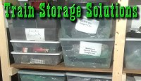 Train Storage Solutions, January 2020, using periods of cold weather to get things sorted in the garage, including shelf building and tips for schlepping trains. Click for bigger photo.