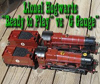 Comparing Lionel's battery-powered Hogwarts Expresses against each other.  Click to go to article.