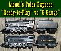 Comparing Lionel's battery-powered Polar Expresses against each other.  Click to go to article.