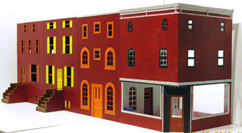Colorado Model Structures Marketstreet townhouse row with a commercial corner added.  Click for bigger photo.