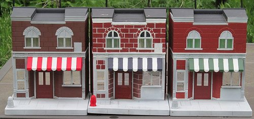 Playskool Sesame Street storefronts with awnings painted. Click for bigger photo.