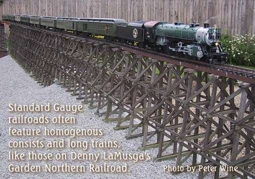 Denny LaMusga's Great Northern-influenced garden railroad model mainline and modern trains. Click for bigger photo.